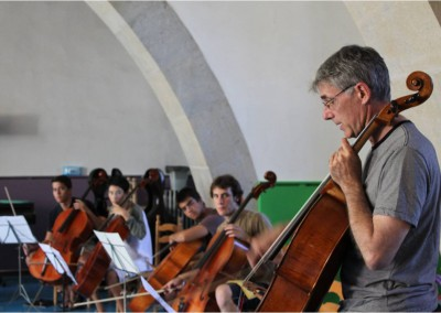 Professor Thiemann teaching a cello ensemble of students from  several countries and continents
